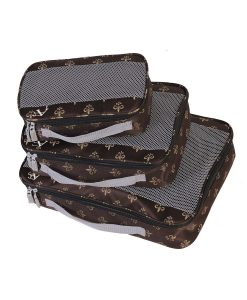American Flyer Fleur De Lis Brown Packing Cube - 3-Piece Set