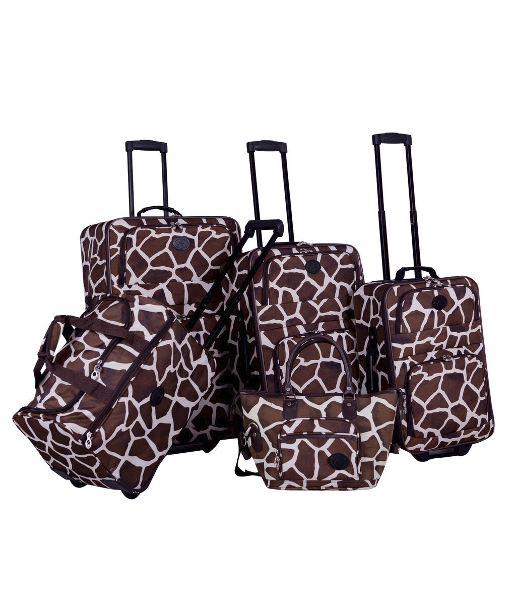 American Flyer Animal Print Giraffe Brown 5 Piece Luggage Set